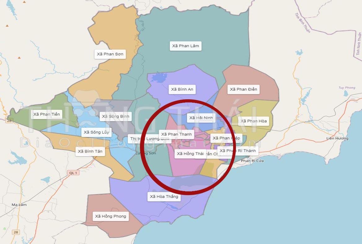Bản đồ huyện Bắc Bình, Bình Thuận