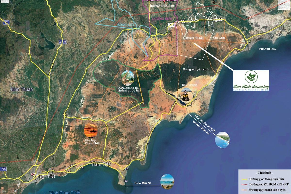 bản đồ kết nối của huyên bắc bình farmstay nhìn từ vệ tinh