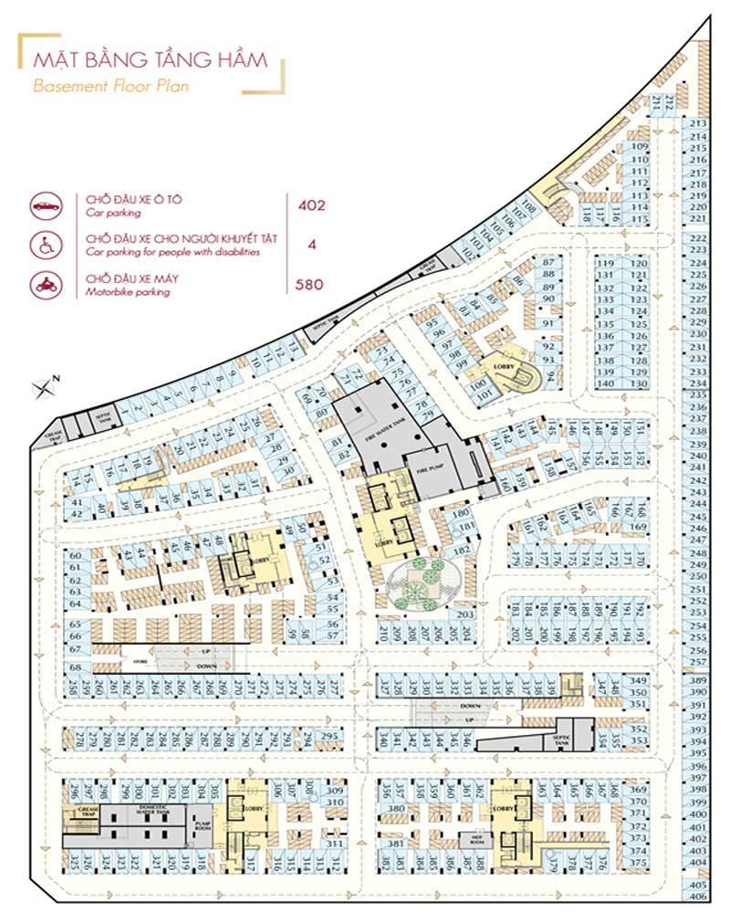 Mặt-bằng-tầng-hầm-Midtown-phân-khu-M7-The-Signature