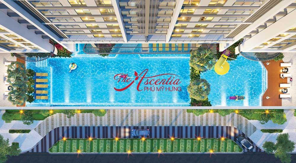 Hồ bơi bên trong dự án The Ascentia quận 7