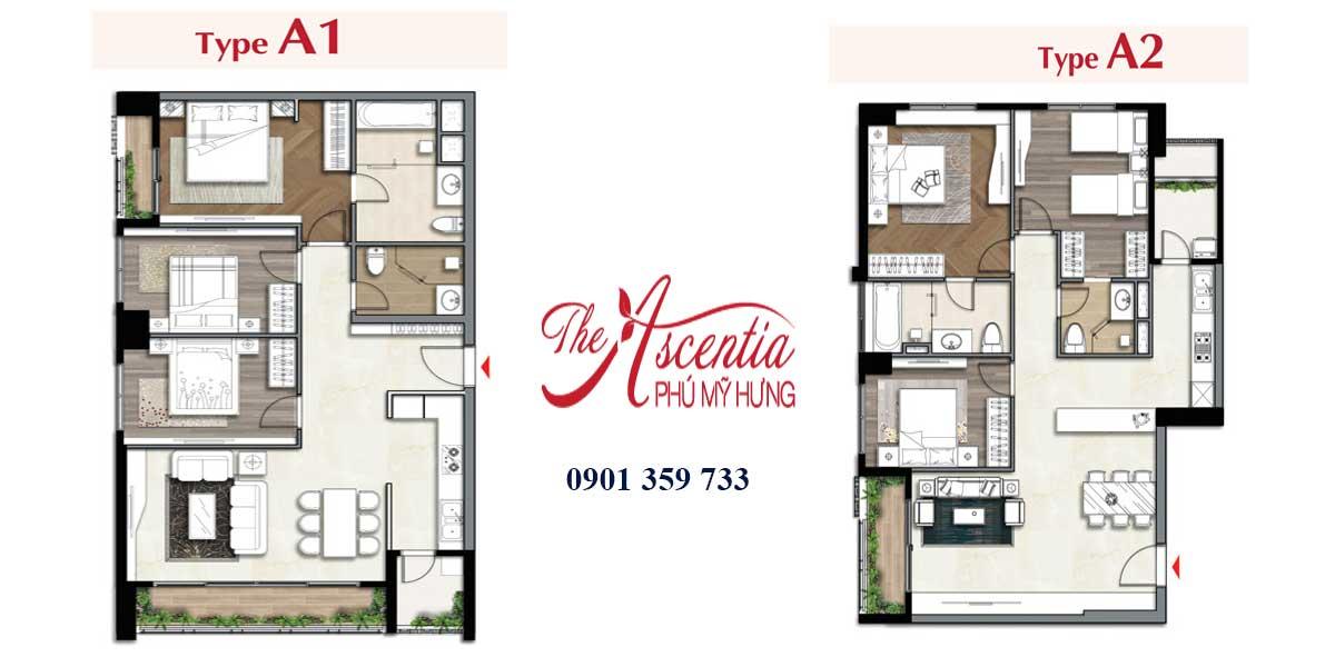 Layout căn hộ kiểu A chung cư The Ascentia