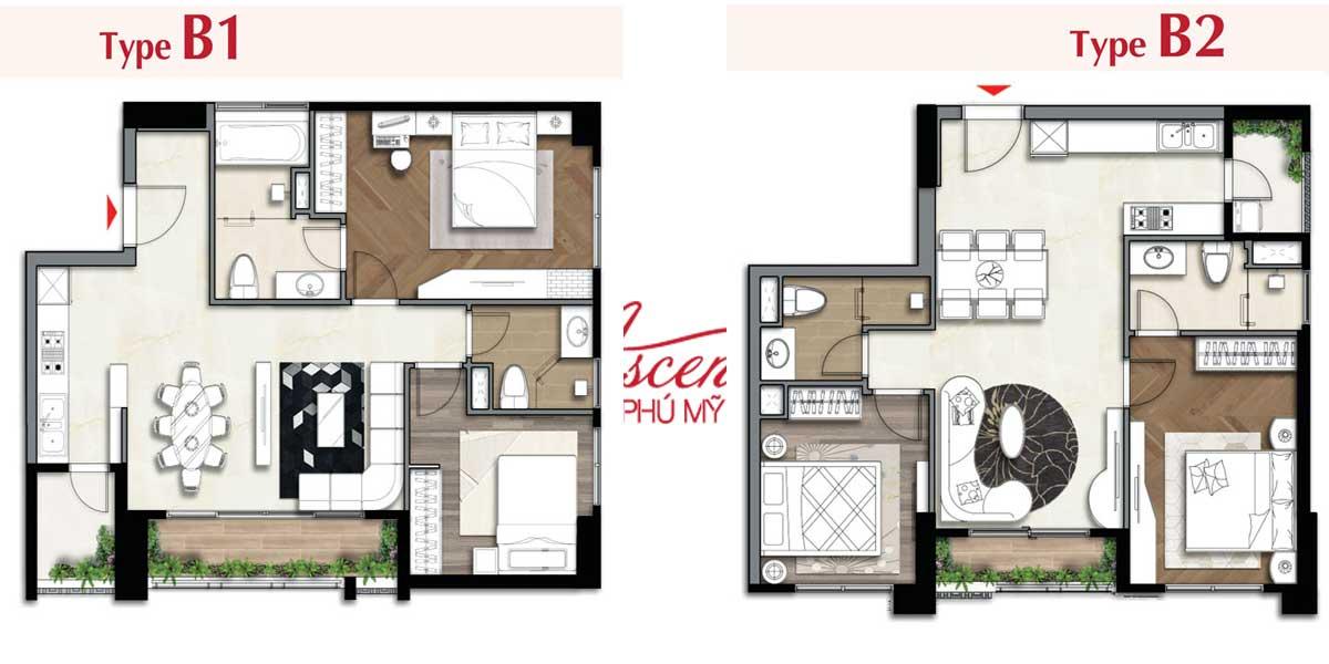 Layout căn hộ kiểu B chung cư The Ascentia
