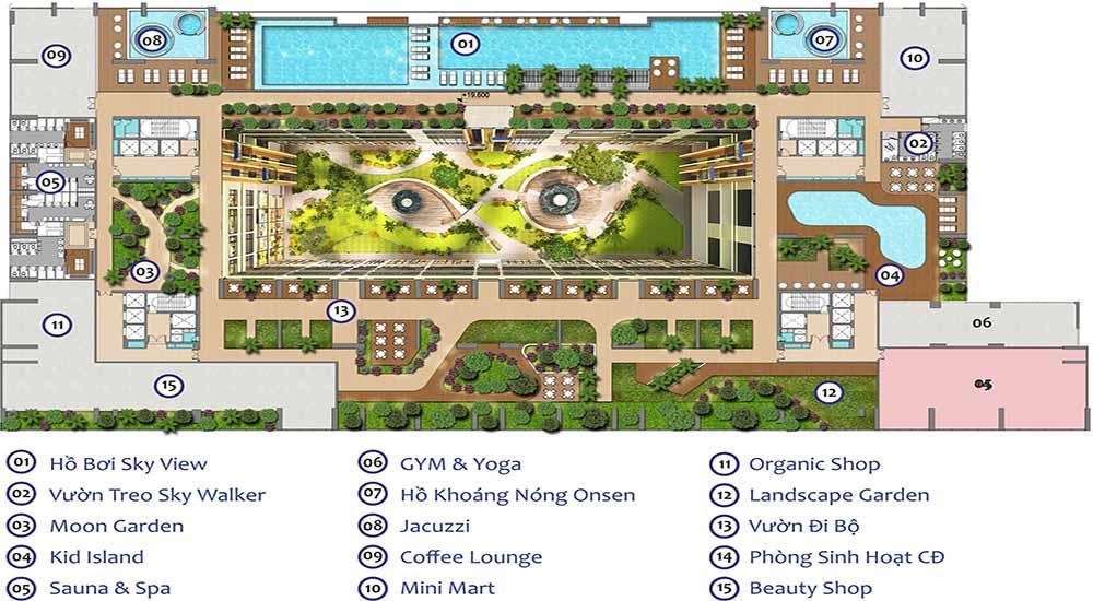 Mặt bằng căn hộ Green Star Sky Garden Hưng Lộc Phát tầng 5