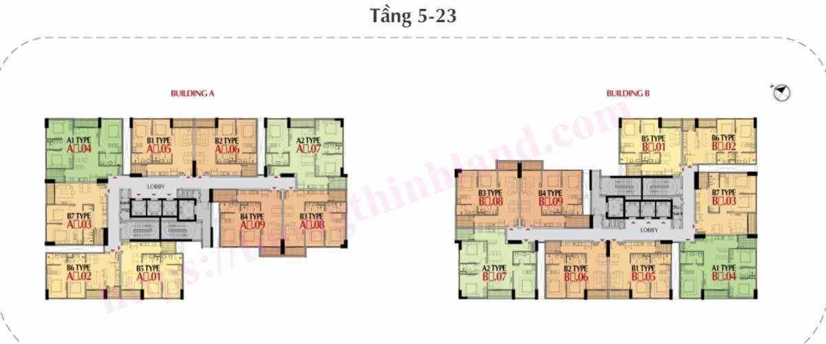Mặt bằng căn hộ The Antonia Phú Mỹ Hưng tầng 5-23