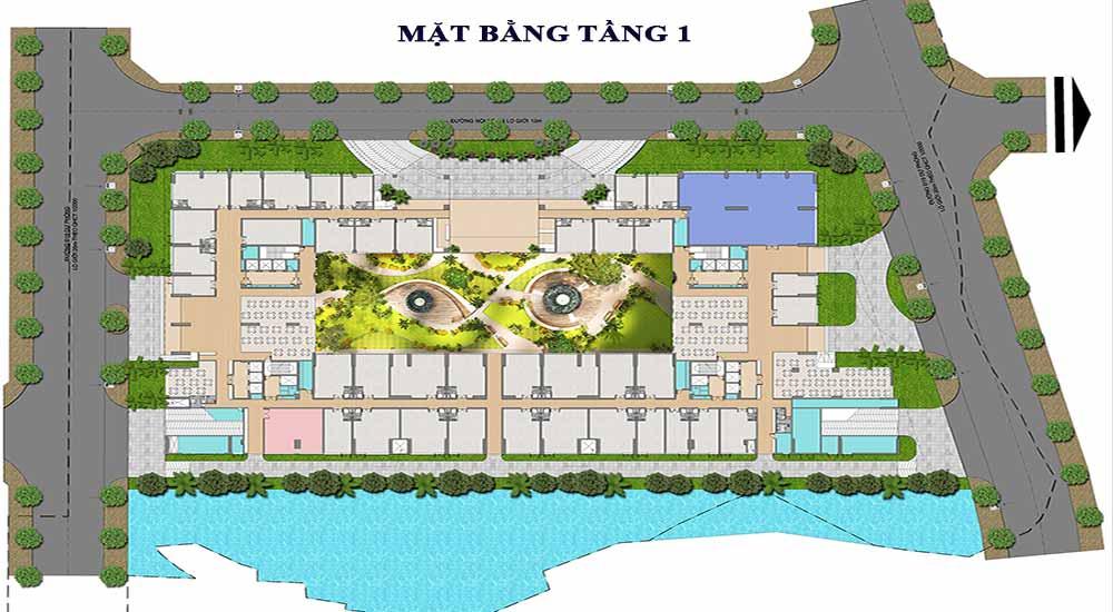Mặt bằng dự án căn hộ Green Star Sky Garden tầng 1