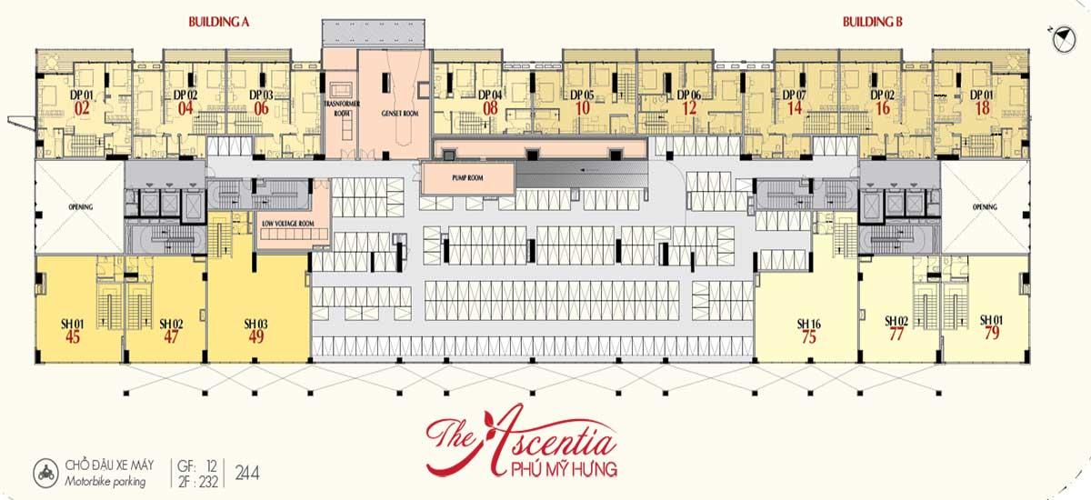 Mặt bằng tầng 2 dự án Ascentia quận 7
