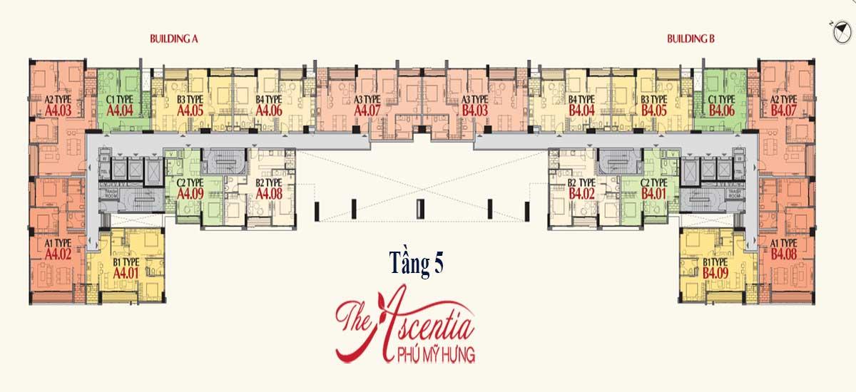 Mặt bằng tầng 5 The Ascentia Phú Mỹ Hưng