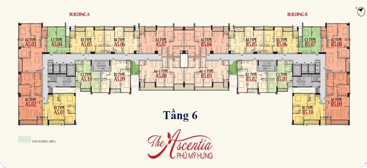 Mặt bằng tầng 6 căn hộ Ascentia Phú Mỹ Hưng