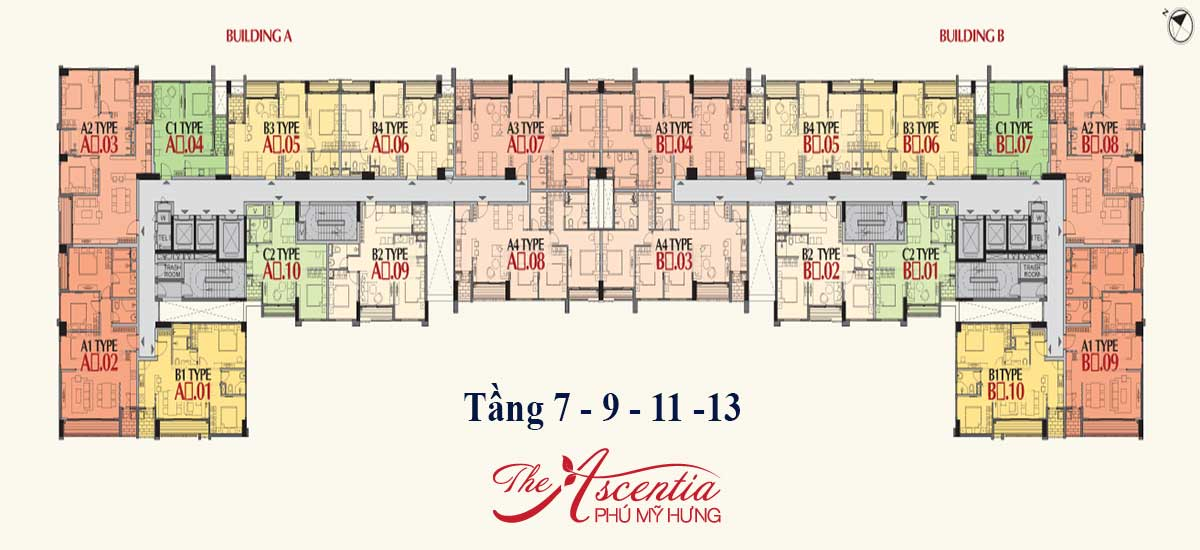 Mặt bằng tầng 7-9-11-13 căn hộ Ascentia Phú Mỹ Hưng