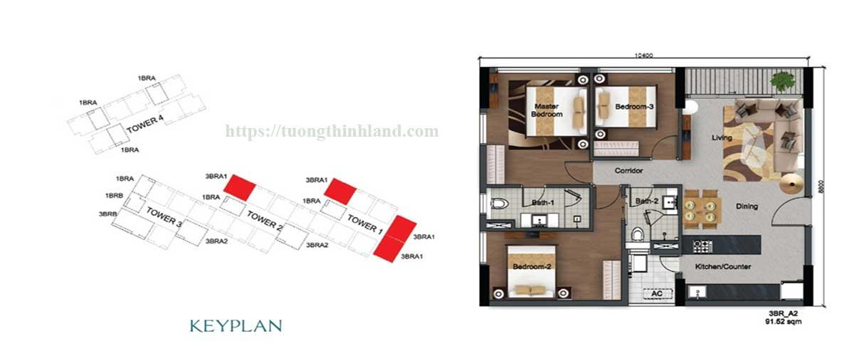 Thiết kế 3PN căn hộ Dragon Riverside City