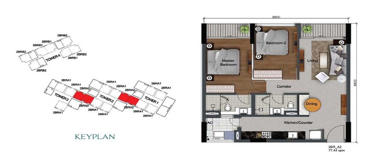 Thiết kế căn 2PN 77m2 Dragon Hill Premier