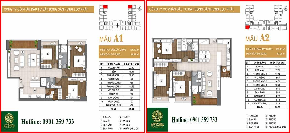 Thiết kế căn hộ chung cư Green Star loại A1-A2