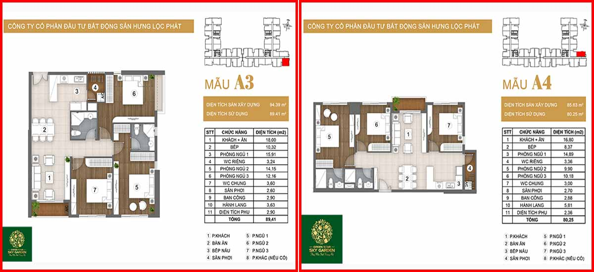 Thiết kế căn hộ chung cư Green Star loại A3-A4