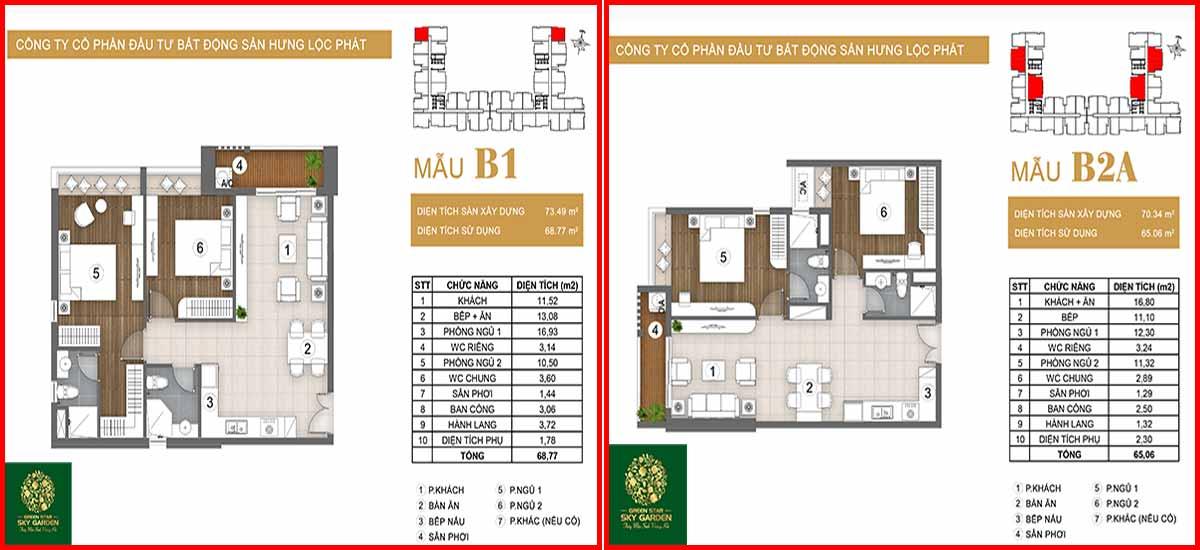 Thiết kế căn hộ chung cư Green Star loại B1-B2
