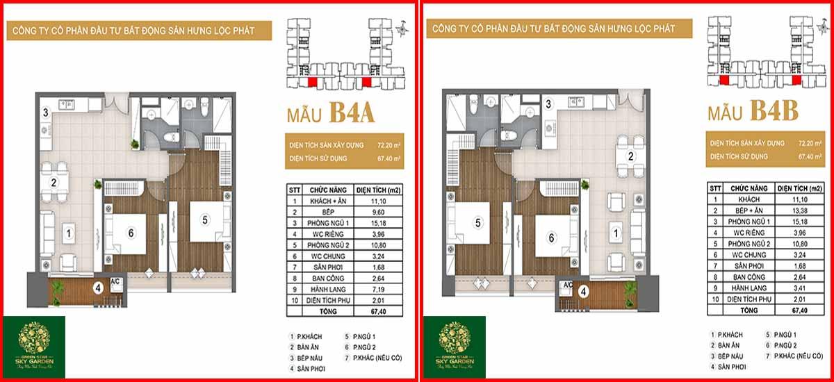Thiết kế căn hộ chung cư Green Star loại B4A-B4B