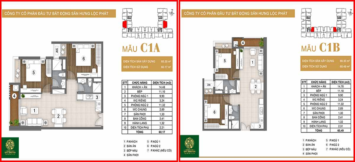 Thiết kế căn hộ chung cư Green Star loại C1A-C2B