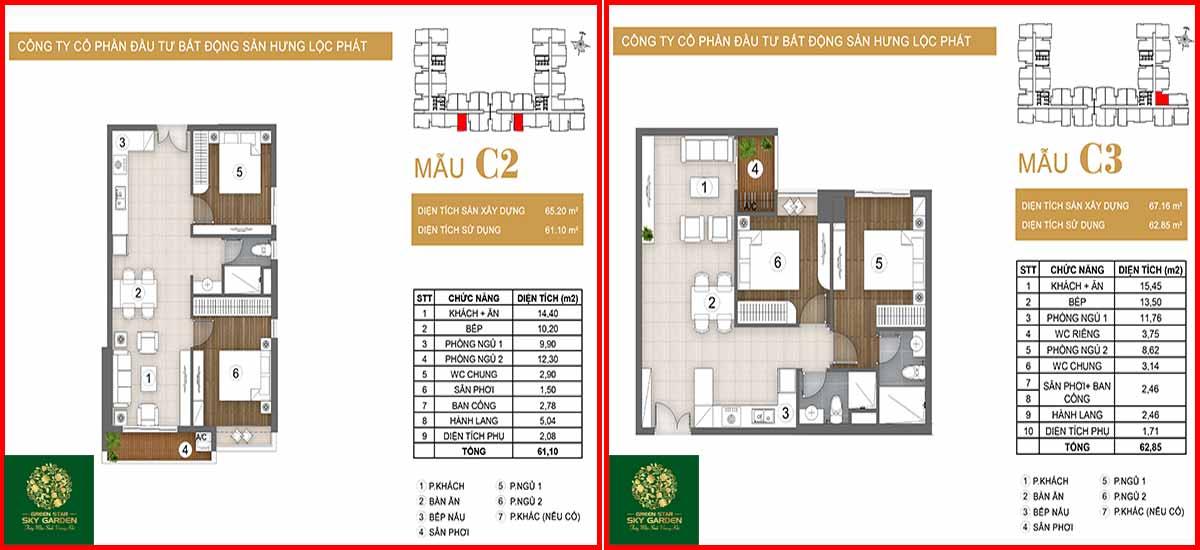 Thiết kế căn hộ chung cư Green Star loại C2-C3