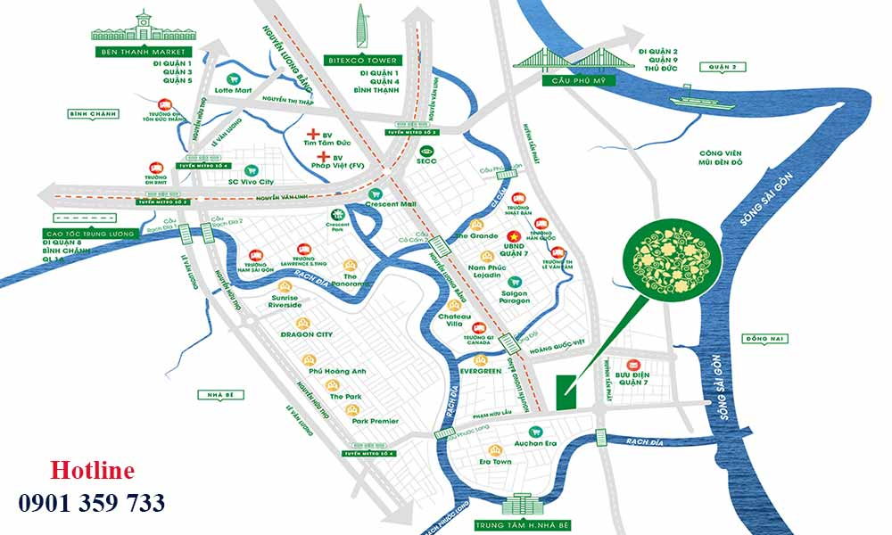Vị trí dự án Green Star Sky Garden Nguyễn Lương Bằng quận 7