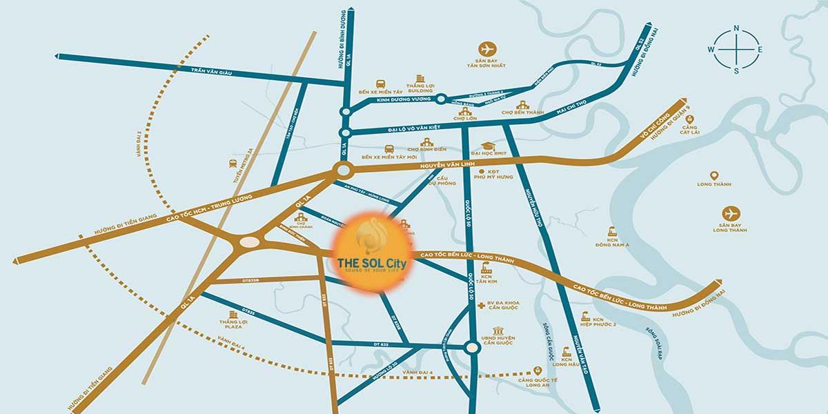 Vị trí dự án The Sol City Nam Sài Gòn