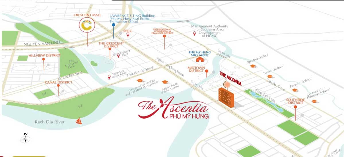 Vị trí khu căn hộ The Ascentia Phú Mỹ Hưng