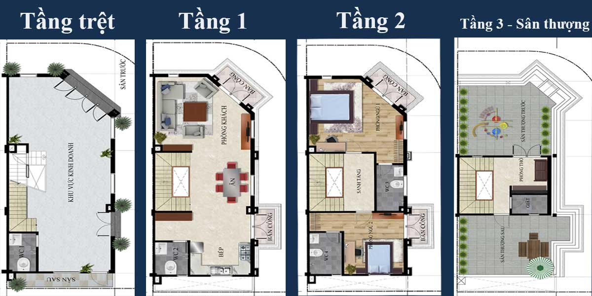 Thiết kế từng tầng nhà phố West Market Lạc Tấn Long An