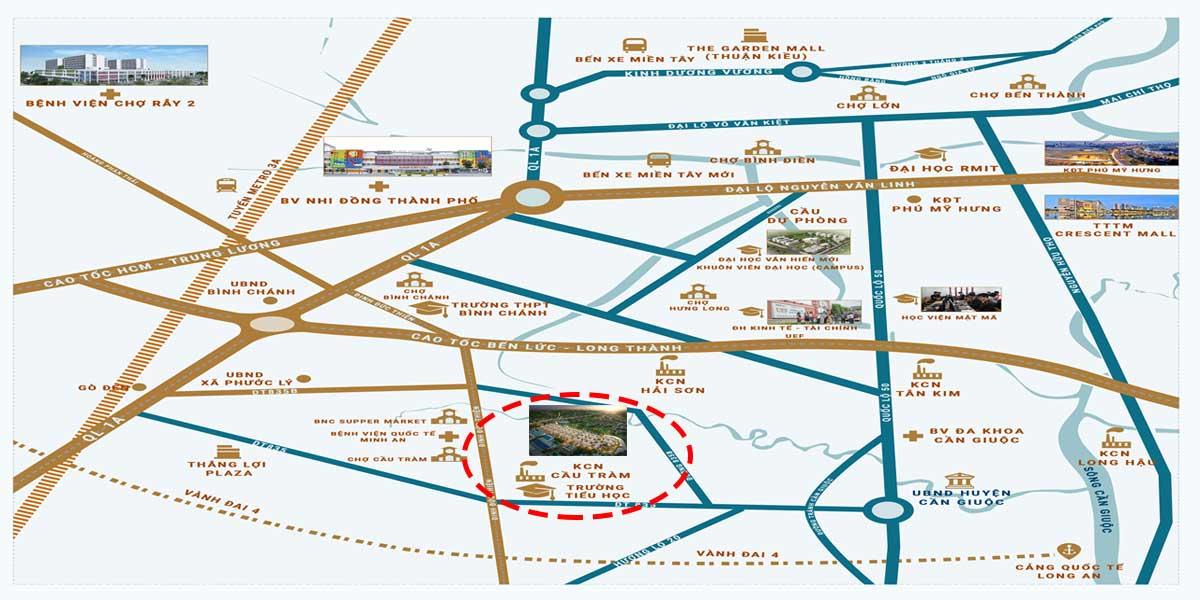 Vị trí KDC Cầu Tràm Cần Đước Long An