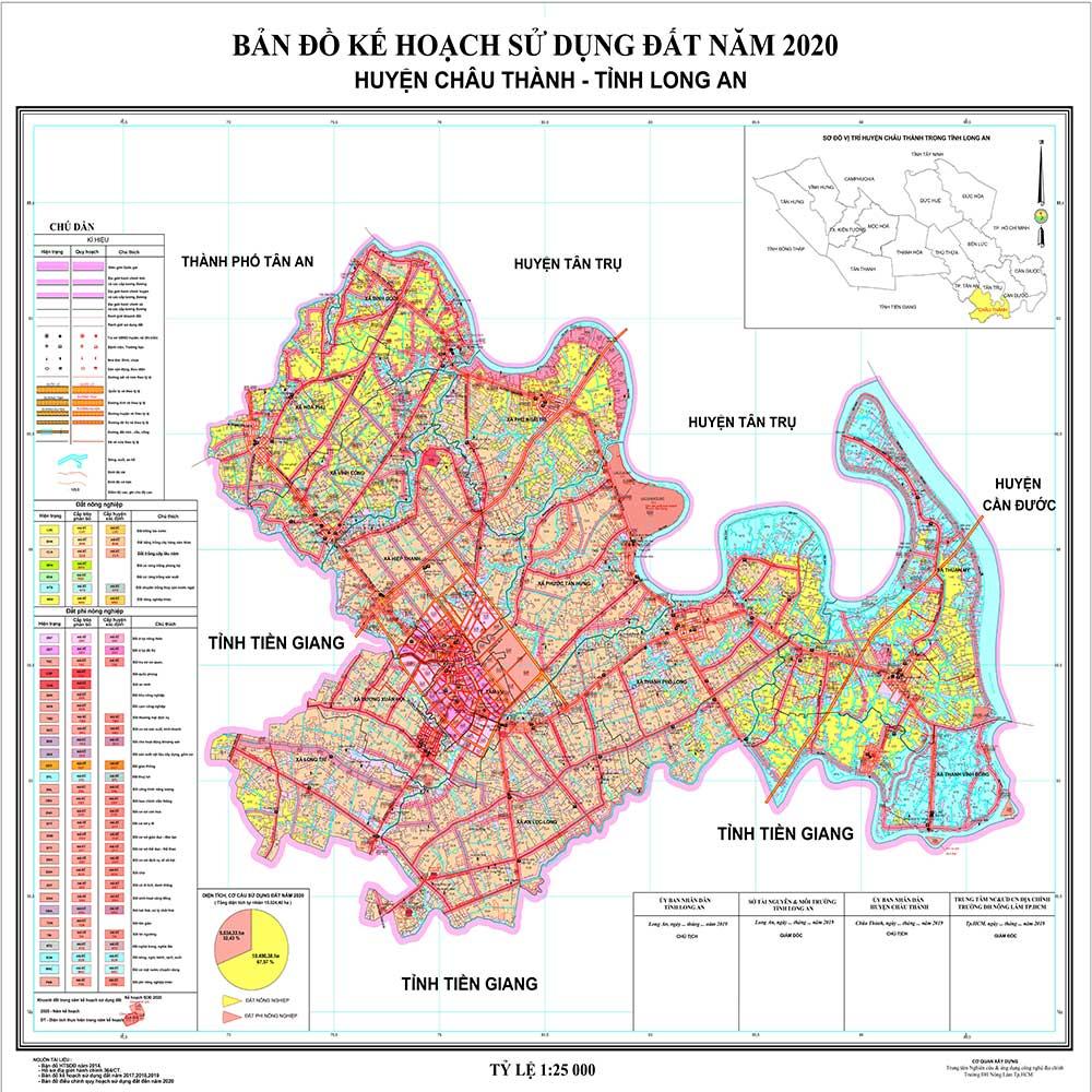 Bản đồ kế hoạch sử dụng đất 2020 huyện Châu Thành Long An