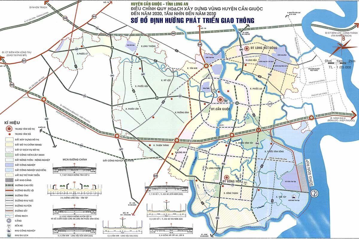Bản đồ quy hoạch định hướng phát triển giao thông huyện Cần Giuộc 2020 tầm nhìn 2030