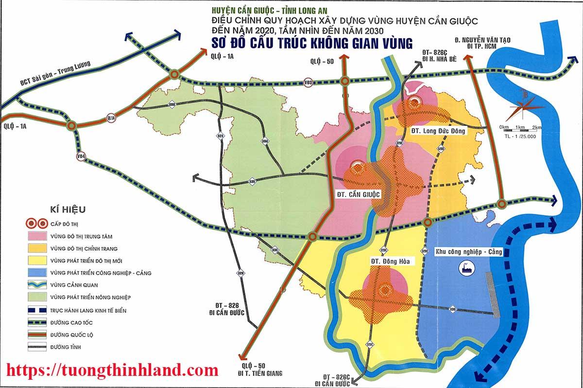 Bản đồ quy hoạch chi tiết huyện Cần Giuộc về phát triển không gian vùng