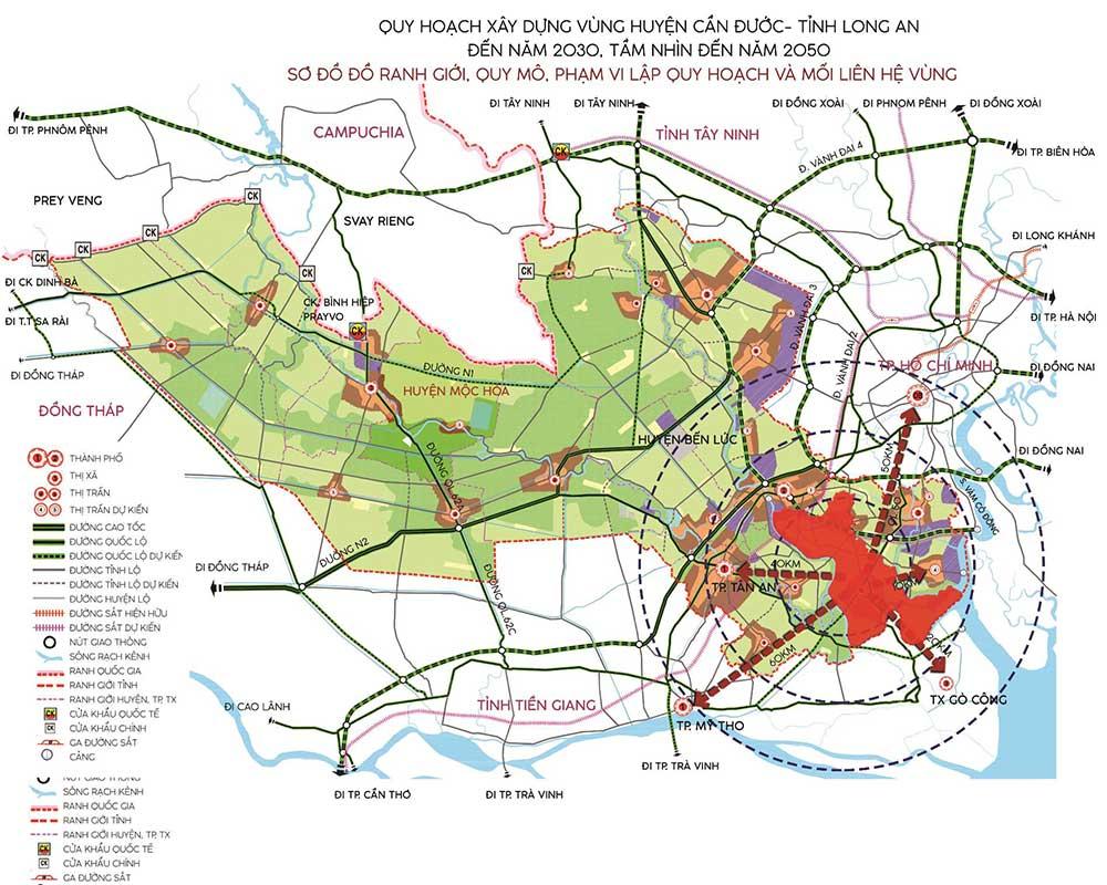 Bản đồ quy hoạch huyện Cần Đước đến 2030 tầm nhìn 2050