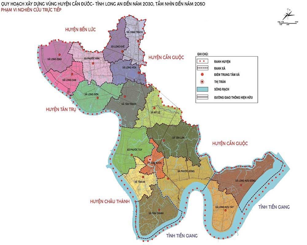 Bản đồ quy hoạch vùng huyện Cần Đước 2030 tầm nhìn 2050