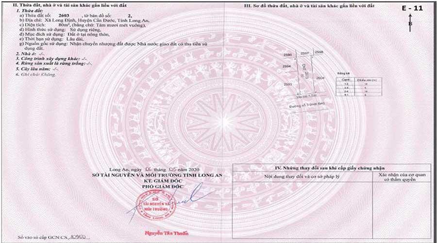 Sổ đỏ nền E.11 Thuận Đạo Residence Cần Đước