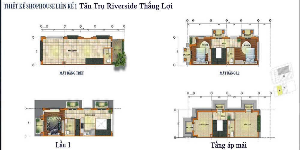 Layout thiết kế shophouse Tân Trụ Riverside Market