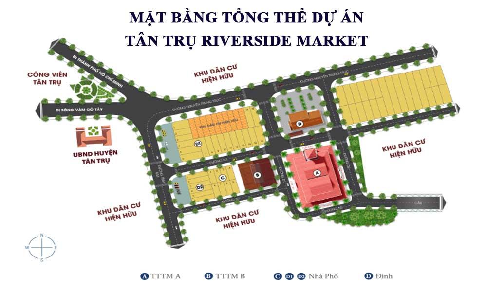 Mặt bằng tổng thể dự án Tân Trụ Riverside Market
