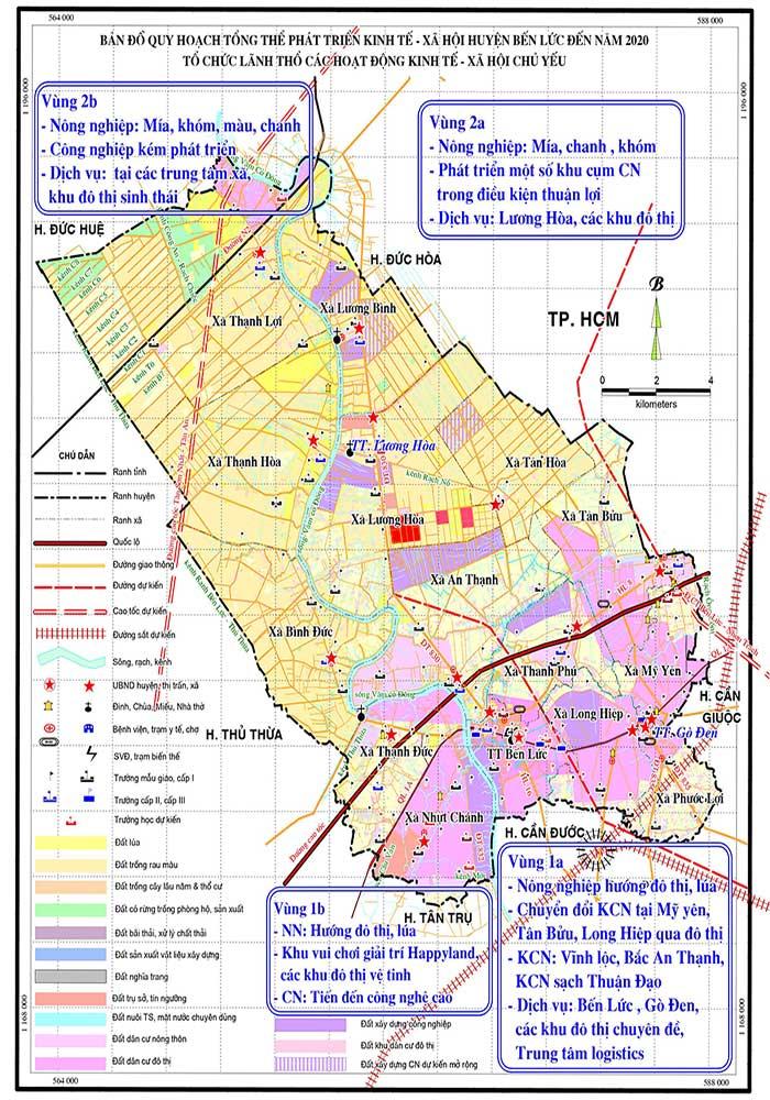 Bản đồ quy hoạch tổng thể phát triển kinh tế xã hội đến năm 2020 huyện Bến Lức