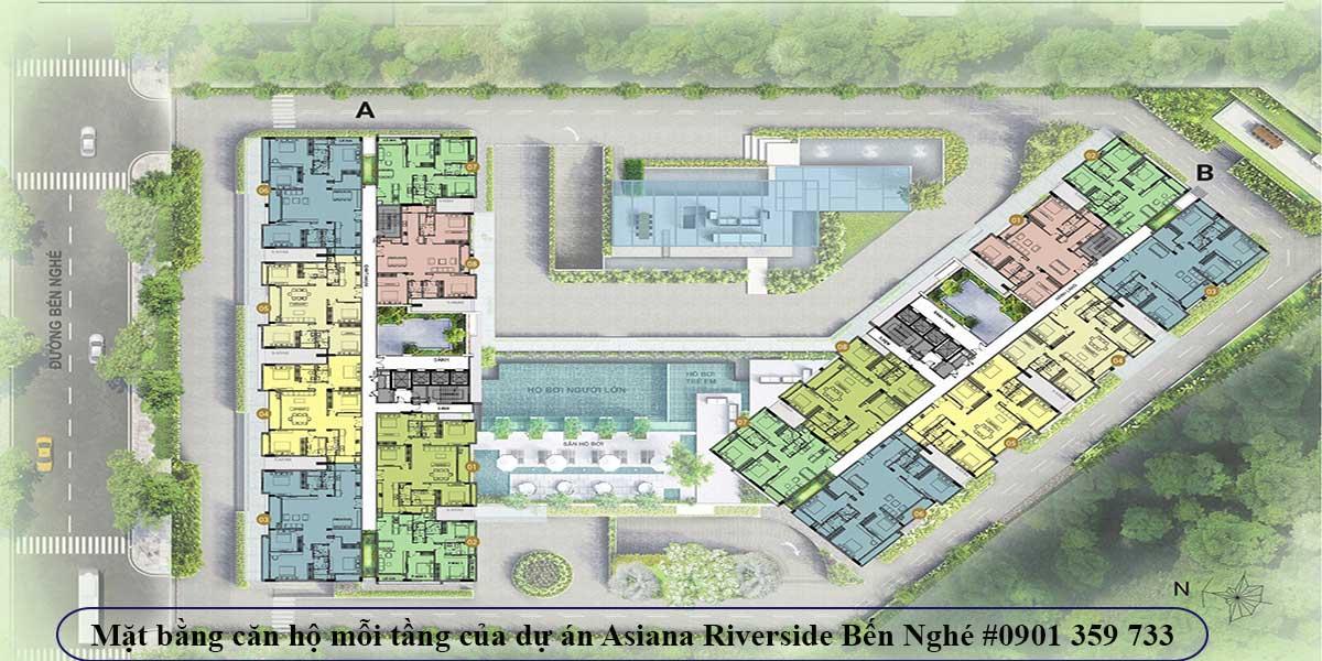 Mặt bằng căn hộ mỗi tầng của dự án Asiana Riverside Bến Nghé
