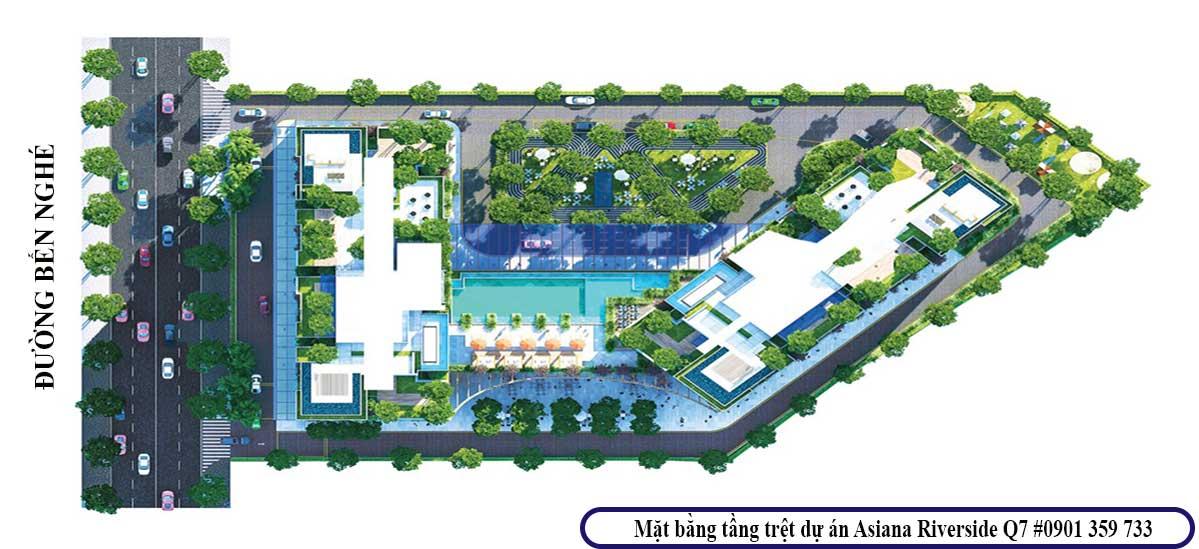 Mặt bằng tầng trệt dự án Asiana Riverside q7