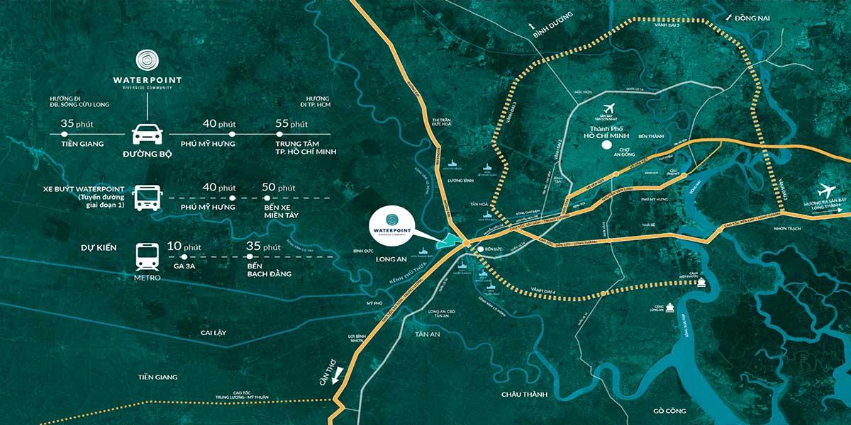 Vị-trí-dự án ehome waterpoint di-chuyển bằng-đường-bộ
